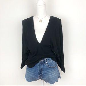 ELLE Black Slouchy V-Neck Sweater Top
